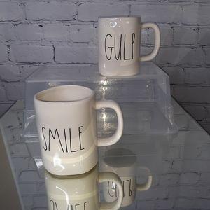 "RAE DUNN Oversized ""Smile"" & ""Gulp"" Coffee Mugs"